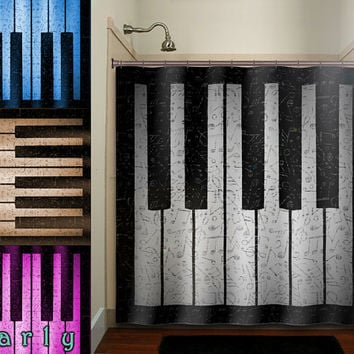 antique sheet music treble clef note piano shower curtain bathroom decor fabric kids bath white black custom duvet cover rug mat window