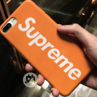 Superme pink orange iPhone protection phone shell.