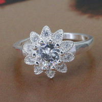 R151 Size 7 8silver ring 2016 silver fashion jewelry Inlaid stone Sunflower Ring