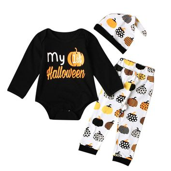 MUQGEW Baby Born 1St Birthday Baby Girl Boy Pumpkin Romper Top+Pants+Hat Halloween Outfits Set First Birthday Outfit Girl Q06