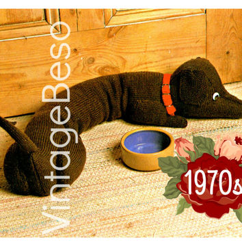 Doggie Door Draft Stopper KNITTING PATTERN Dachshund Draught Excluder Instant Download Pdf Home Decor to prevent cold winds into your home