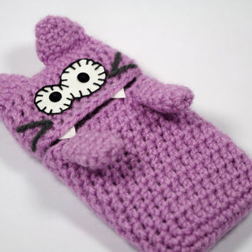 Plush phone case cat, cell phone case amigurumi cover - gadget cozy - CUSTOM