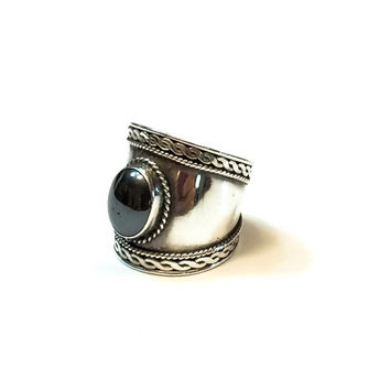 Sterling Cigar Band Wide Ring, Chunky Hematite Ring, Roped & Graduated Shank, Hallmarked, Statement Jewelry, Vintage Jewelry