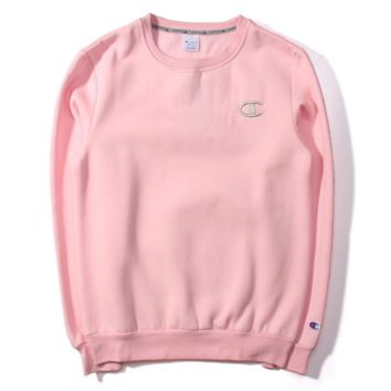 Autumn and Winter Champion embroidery lovers sweater plus velvet thickening Pink