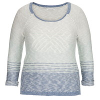 Plus Size - Patterned Sweater With Contrast Trim - New Chambray Combo