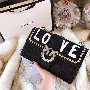 "Hot Sale ""Gucci"" Fashion Women Leather Swallows Rivet ""LOVE"" Diamond Handbag Satchel Shoulder Bag Black I-BCZ(CJZX)"