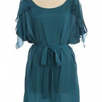 TEAL FLUTTER SLEEVE CHIFFON DRESS @ KiwiLook fashion