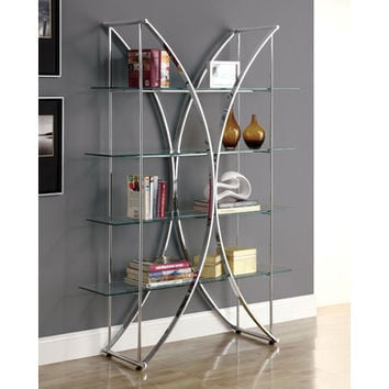 Monarch Specialties I 3020 Chrome Metal 72 Inch Etagere w/ Tempered Glass Shelves