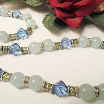 Aquamarine & Blue Crystal Necklace and Bracelet by RomanticThoughts on Etsy