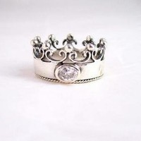 "Sterling Silver Crown with Cubic Zirconia ""Princess"" Ring, Clear"