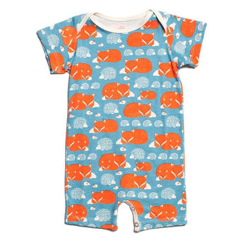 Foxes & Hedgehogs Summer Romper by Winter Water Factory