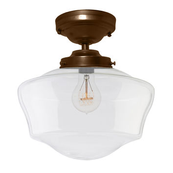 Schoolhouse Clear Glass Bronze Flush Mount Light
