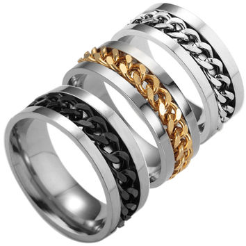Stylish Gift New Arrival Jewelry Shiny Men Titanium Chain Accessory Ring [10059710595]