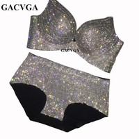 GACVGA 2018 Crystal Mesh Summer Women Crop Top Shining Tank Top Backless Vest Sexy Bra Set Beach Swimsuit Ladies Bust Chain