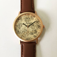 Womens Watch. Gift for Her. Wedding Gift. Floral Print. Wooden Watches. Bridal Souvenir. Rose Gold Watch. Gold Watches. Leather Bracelet.