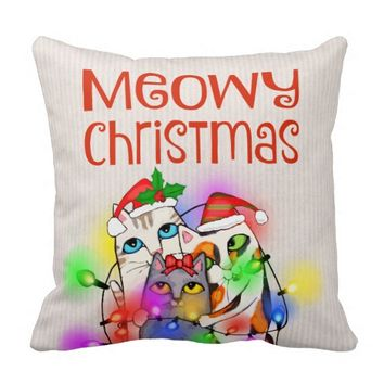 Christmas Cats Funny Holiday Throw Pillow