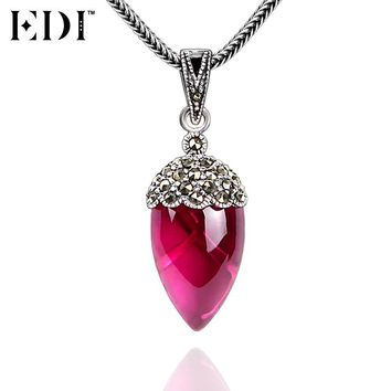 EDI 925 Sterling Silver & Marcasite Pink Ruby Natural Gemstones Pendants Necklace for Women Antique Thai Silver Snake Chains