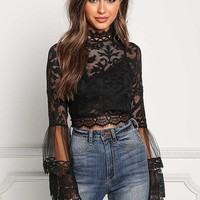 Black Lace & Tulle Brocade Bell Sleeve Crop Top