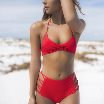 Castaway Red Seamless High Waisted Cheeky Bottom