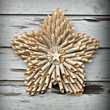 Star Wreath-Made from Vintage Book Pages