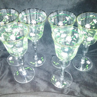 A Set of Six Lovely Handpainted Daisy Floral Design Wine Goblets / Glass / Stems