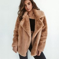 Turn down collar faux fur coat