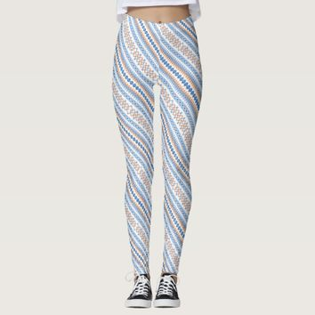 Cute blue orange Aztec Tribal Motif Pattern Leggings
