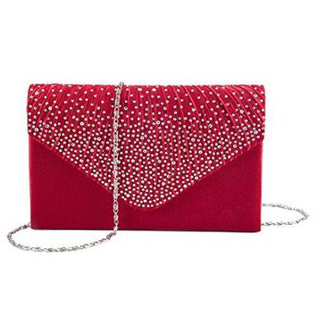 Kaever Evening Clutch Womens Satin Rhinestone Envelope Clutch Purse For Wedding and Party