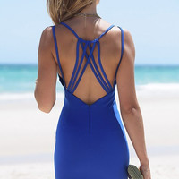 Blue Criss Cross Back Strappy Dress 11998