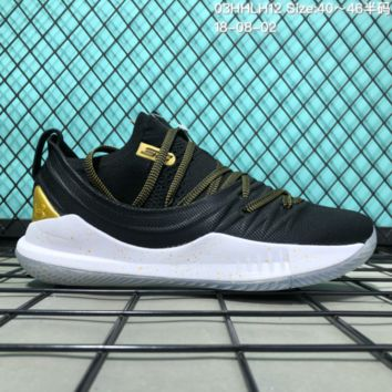 HCXX B309 Under Armour Curry 5 Actual Combat Basketball Shoes Black Gold