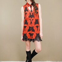 Black and red tunic top with oversized chain link print | shopcuffs.com