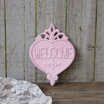 Welcome Sign, Shabby Chic, Pink, Hand Painted, Cast Iron, Metal, Distressed, Cast Iron Sign