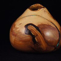 Wooden art vessel, alligator juniper burl with turquoise inlay, 4 1/2 inches tall 5 1/4 inches diameter