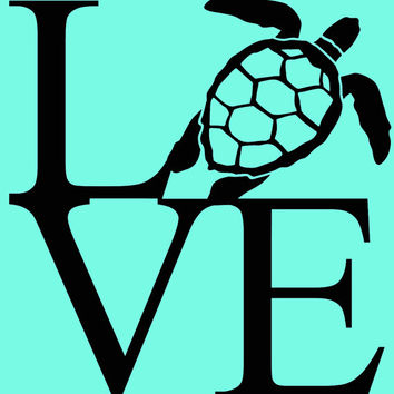 Vinyl car decal love sea turtle decal