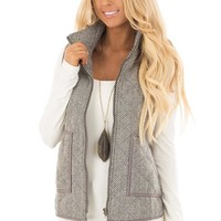 Grey Patterned Vest with Front Pockets and Zipper Closure