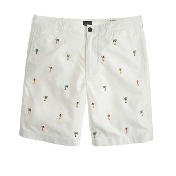 "J.Crew Mens 9"" Stanton Oxford Cloth Short With Embroidered Hula Girls"