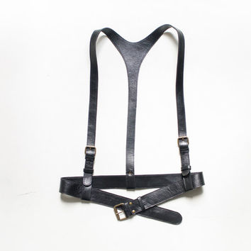 Black leather harness a thicker belt with a buckle in front, body harness, harness women, harness vest, harness belt