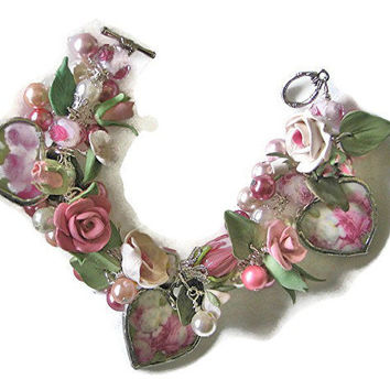 Broken China Jewelry Pink and White Roses Bracelet