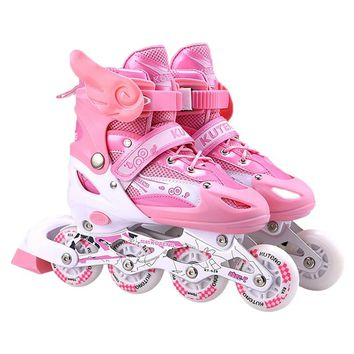 PU Full Flashing Kids'Quad Skates Shoes Roller Skates Patines En Linea With Helmet Elbow Adjustable Slalom Inline As Seba IA71