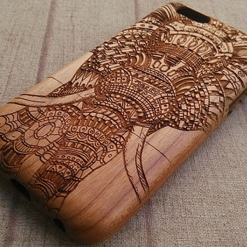 Wood iPhone case, Aztec elephant B, iphone 6 case,iphone 6plus, iphone 5 case ,iphone 4 case, iphone 5c case,wooden iphone case,gift