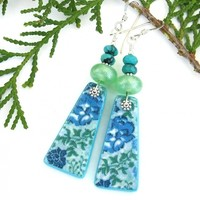 Blue Flowers Handmade Earrings, Pearlized Lime Green Lampwork Turquoise Fashion Jewelry