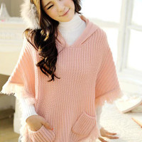 Fashionable Hooded Tassels Pink Cape Girls : Wholesaleclothing4u.com