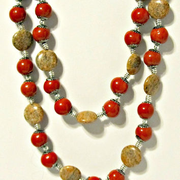 Long Red Ceramic and Feldspar Necklace with Silver Accents - Lobster Red - Gifts for Her - Gifts Under 50 - Natural Stones