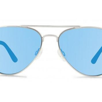 Revo - Raconteur Chrome Sunglasses, Blue Water Serilium Lenses