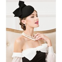 Brand Lady Black Wool Pillbox Banquet Party Hats With Bowknot