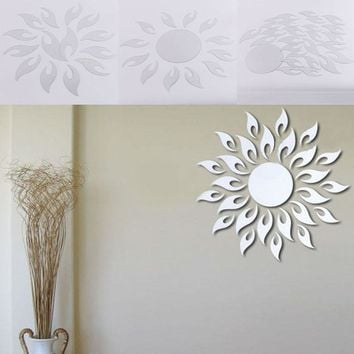 Hot 3D Sunflower Fire Mirror Effect Wall Sticker Decal Home Room Decorative
