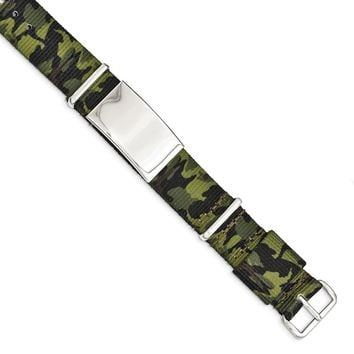 White Stainless Steel Polished Green Camo Fabric Adjustable ID Bracelet