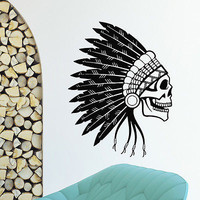 WALL DECAL VINYL STICKER PEOPLE NATIVE AMERICAN INDIAN SKULL TRIBAL DECOR SB941