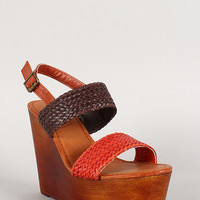 Bamboo Tri Tone Woven Slingback Faux Wooden Platform Wedge