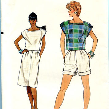 Vogue 8686 TOP SHORTS & SKIRT Pattern Short Sleeves Top Very Easy Vogue Bust 34 36 38 Size 12 14 16 UNCuT 1980s Womens Sewing Patterns